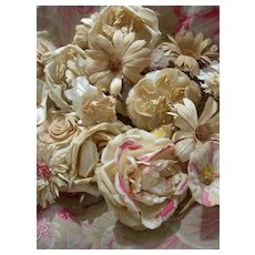 Collection 21 vintage French 1920s fabric millinery flowers