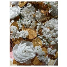 Collection 34 vintage French fabric flowers roses wheatears & gold leaves 1920s