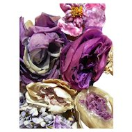 Collection 9 silk & velvet 1920s French millinery flowers