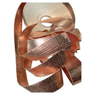 1 roll vintage French copper tone metallic lame woven ribbon 1920s approximately 100 yards
