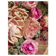 Collection 18 vintage French pink fabric millinery flowers roses