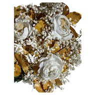 Antique French 1880s floral bridal wedding bouquet - white roses & gold leaves