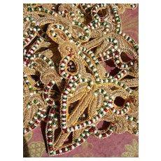 4 handmade gold metallic bullionwork & glass beads appliques - 19th Century convent find