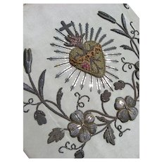 Antique French 19th Century hand embroidered sacred heart & bullion work embroidery