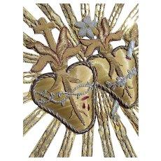 Antique 19th Century French double sacred heart goldwork bullionwork applique