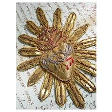 19th Century French sacred heart goldwork bullionwork applique