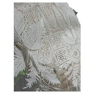 Unused large panel 19th Century Brussels hand made Point de Gaze lace on tulle