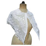 Antique French early 19th Century hand embroidered whitework shawl shoulder cape