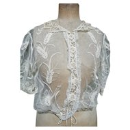 Antique 19th Century French tulle & hand made Brussels lace applique wedding blouse top