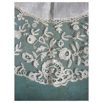 Antique 19th Century handmade Brussels applique lace wedding bridal handkerchief