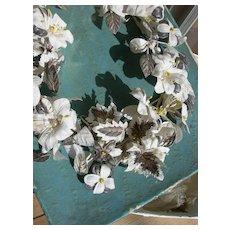 French 1900 fabric flowers wedding bridal crown tiara - in original box