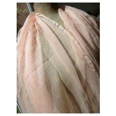 French 19th Century pure chiffon silk fabric - blush pink