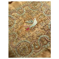 19th Century French hand embroidered silk panel - bird