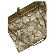 1920s French gold silver metallic thread & silk embroidered evening purse with brass frame