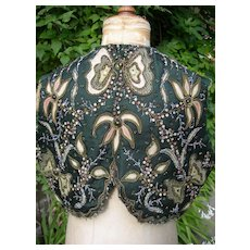 Antique French 1880s hand embroidered beaded dress top bolero for re-working
