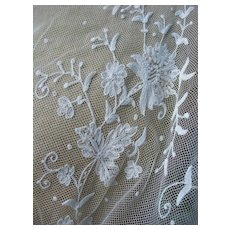 Antique French 19th Century tambour tulle lace scarf stole