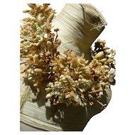 Antique French 19th century wax flower bridal wedding crown tiara 1892