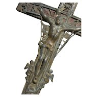 Antique Italian 18th Century embossed metal & wood crucifix