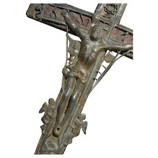 Antique Italian 18th Century embossed metal & wood crucifix