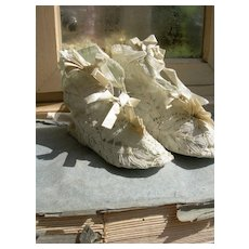 Pair antique 19th Century hand made Brussels lace baby or doll boots with silk ribbons