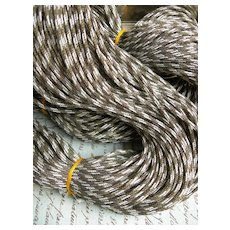 Huge skein (approx. 100 yards) 19th Century French woven gold metallic & cotton cord
