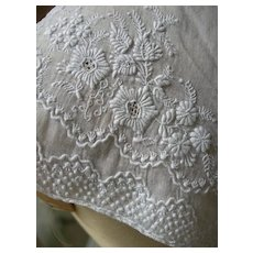 Antique French early 19th Century hand embroidered whitework collar - 1830s