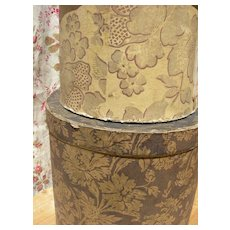 2 antique French 1880s hand block printed hat / band boxes - one with advertising label & date
