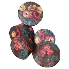 3 fabric covered boudoir boxes - early 19th Century antique French chintz block printed fabric - roses