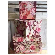 3 fabric covered boudoir boxes - 1910s French chintz roses fabrics