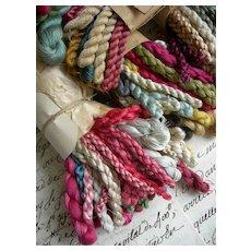 5 bundles antique French 1880s pure silk & silk floss thread skeins - original archive lot