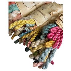 4 bundles antique French 1880s pure silk thread skeins - original archive lot