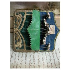 Antique French 1859 embroidered velvet pouch with 7 paste diamante hair pins