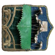 Antique Ottoman 1859 embroidered velvet pouch with 7 French paste diamante hair pins
