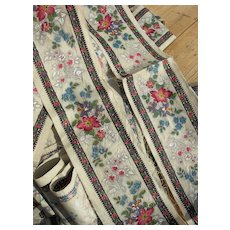 Rare, unused 4 metre lengths hand block printed 19th Century French chintz fabric border trim