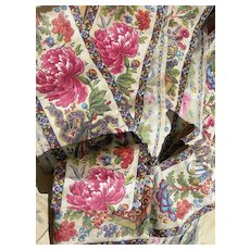 467cms antique French 19th Century block printed cotton fabric border