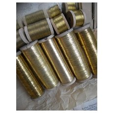 10 large wooden reels of 19th Century Belgian gold metallic embroidery thread - convent find