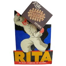 Vintage 1930s French Art Deco 3-D cardboard advertising sign - RITA biscuits