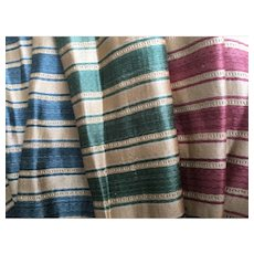 3 samples of 19th Century French silk & linen fabric with labels