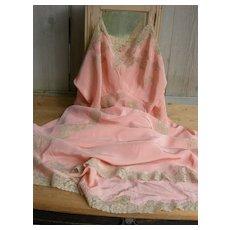 Vintage French 1930s pure silk & lace lingerie slip petticoat