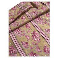 Panel French 19th Century block printed cotton with rose motifs - 1880s