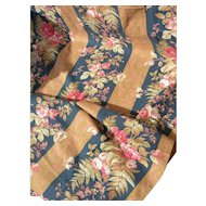 Panel French 19th Century block printed striped cotton with wild roses & fern motifs - 1880s