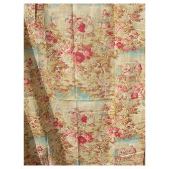 Panel French 19th Century multi-coloured toile printed cotton with country motifs - 1880s