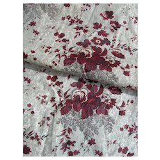 Panel French 19th Century block printed chintz with rose & picotage motifs - 1860s