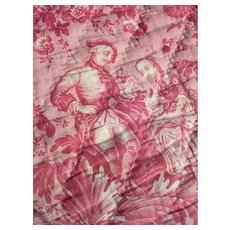 Antique French 1850s 19th Century block printed Toile de Mulhouse quilted panel - Emile Zipelius