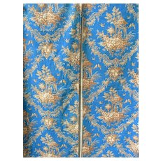 2 panels 19th Century French printed cotton with Chinoiserie & bird motifs