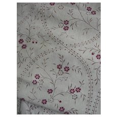 Panel 18th Century French 1770s hand block printed fine linen - archive, document Toile de Jouy