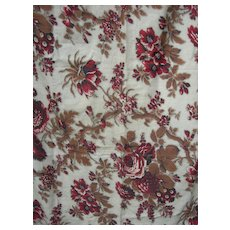 Panel French 19th Century block printed chintz with rose & picotage motifs - 1850s