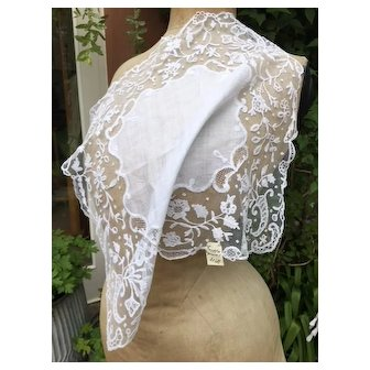 Antique 19th Century handmade Brussels applique lace wedding bridal handkerchief