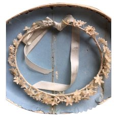 Original boxed 19th Century child's wax flower tiara crown