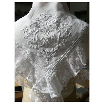 Antique French 19th Century hand embroidered & lace bridal trousseau fichu